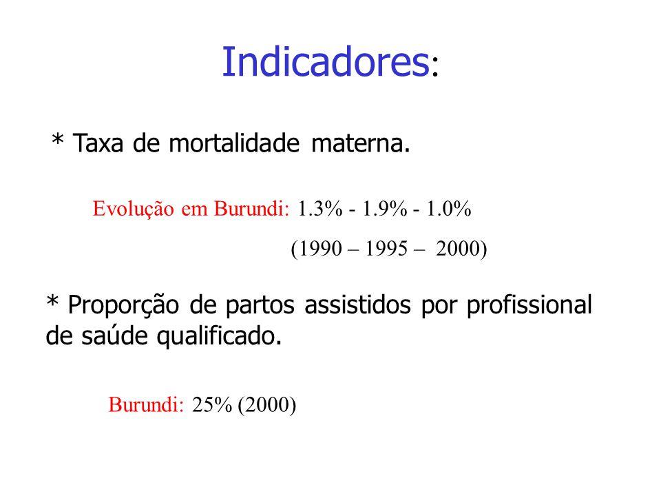 Indicadores: * Taxa de mortalidade materna.