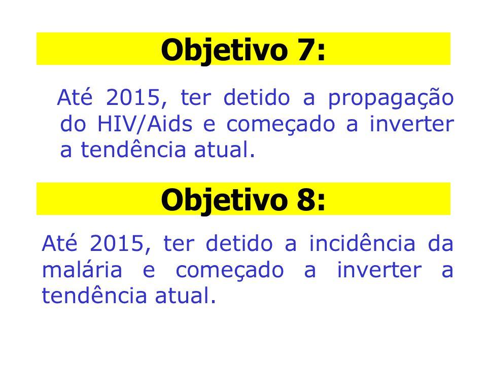 Objetivo 7: Objetivo 7: Até 2015, ter detido a propagação do HIV/Aids e começado a inverter a tendência atual.