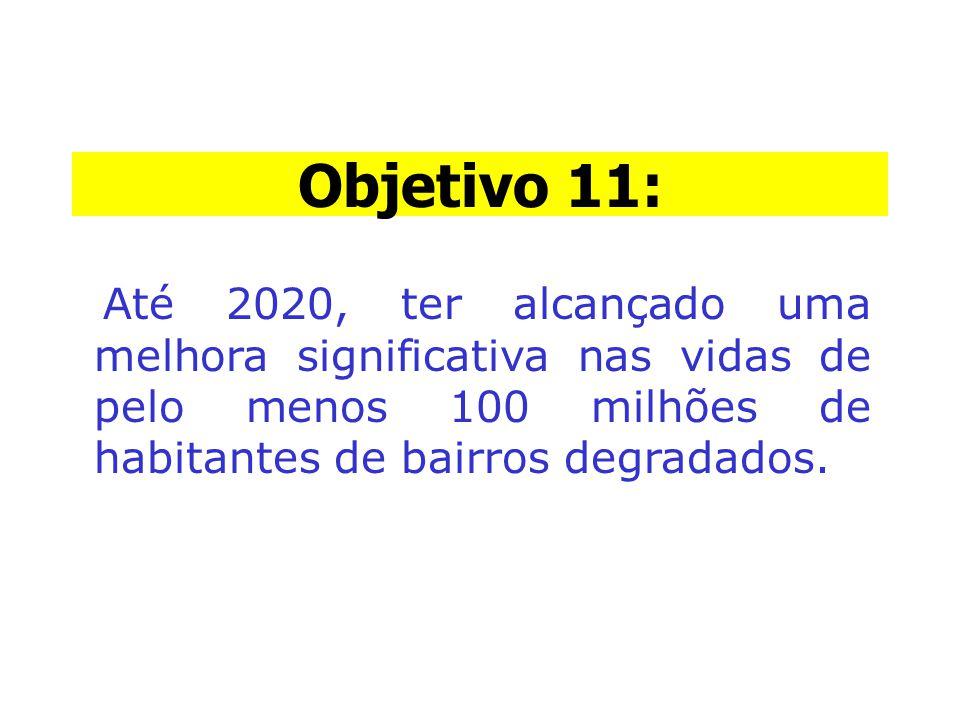 Objetivo 11: Objetivo 11: Até 2020, ter alcançado uma melhora significativa nas vidas de pelo menos 100 milhões de habitantes de bairros degradados.