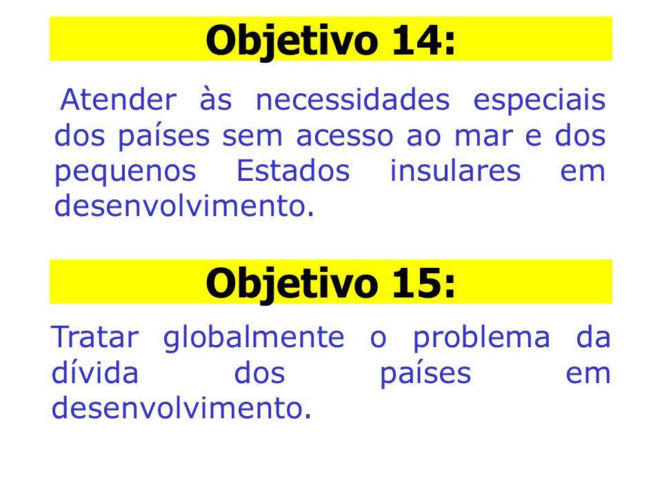 Objetivo 14: Objetivo 14: Atender às necessidades especiais dos países sem acesso ao mar e dos pequenos Estados insulares em desenvolvimento.