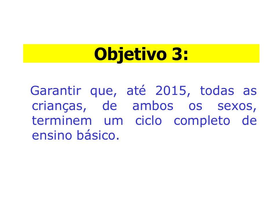 Objetivo 3: Objetivo 3: Garantir que, até 2015, todas as crianças, de ambos os sexos, terminem um ciclo completo de ensino básico.