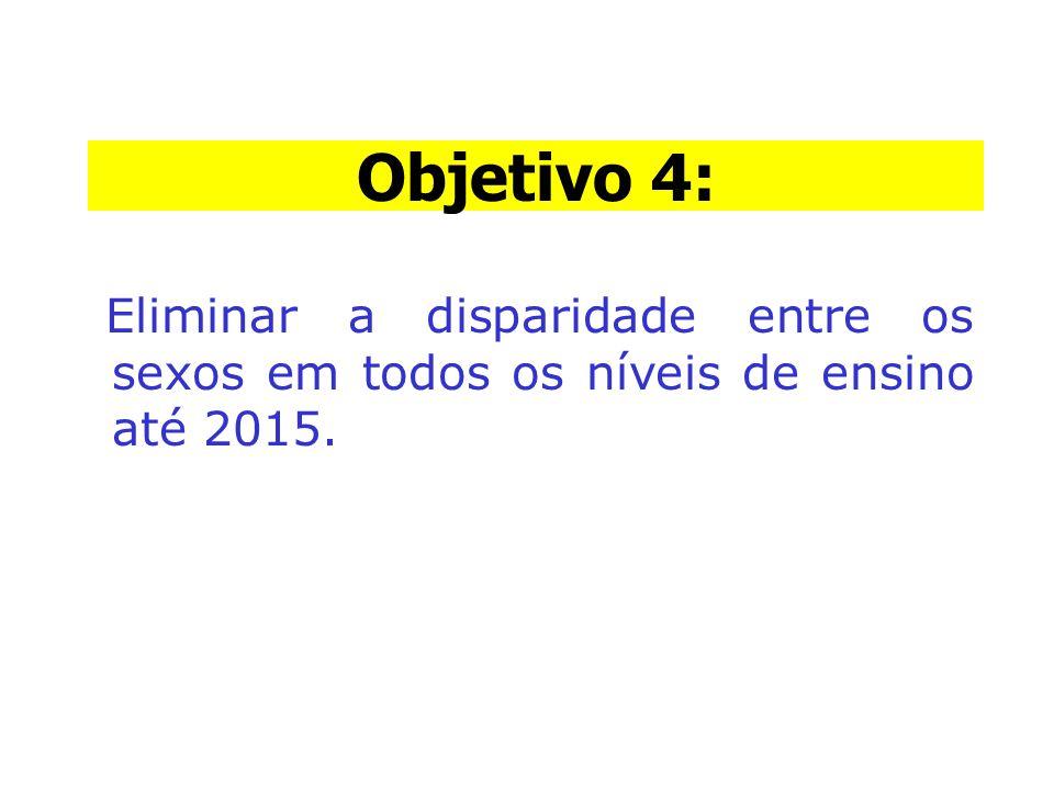 Objetivo 4: Objetivo 4: Eliminar a disparidade entre os sexos em todos os níveis de ensino até 2015.