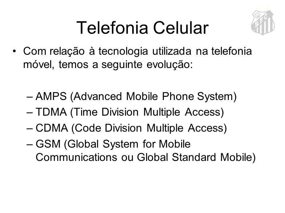 Telefonia Celular Com relação à tecnologia utilizada na telefonia móvel, temos a seguinte evolução: