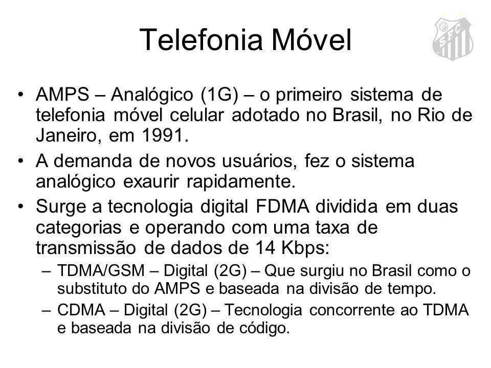 Telefonia Móvel AMPS – Analógico (1G) – o primeiro sistema de telefonia móvel celular adotado no Brasil, no Rio de Janeiro, em 1991.
