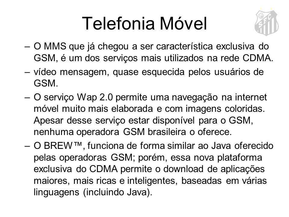 Telefonia Móvel O MMS que já chegou a ser característica exclusiva do GSM, é um dos serviços mais utilizados na rede CDMA.