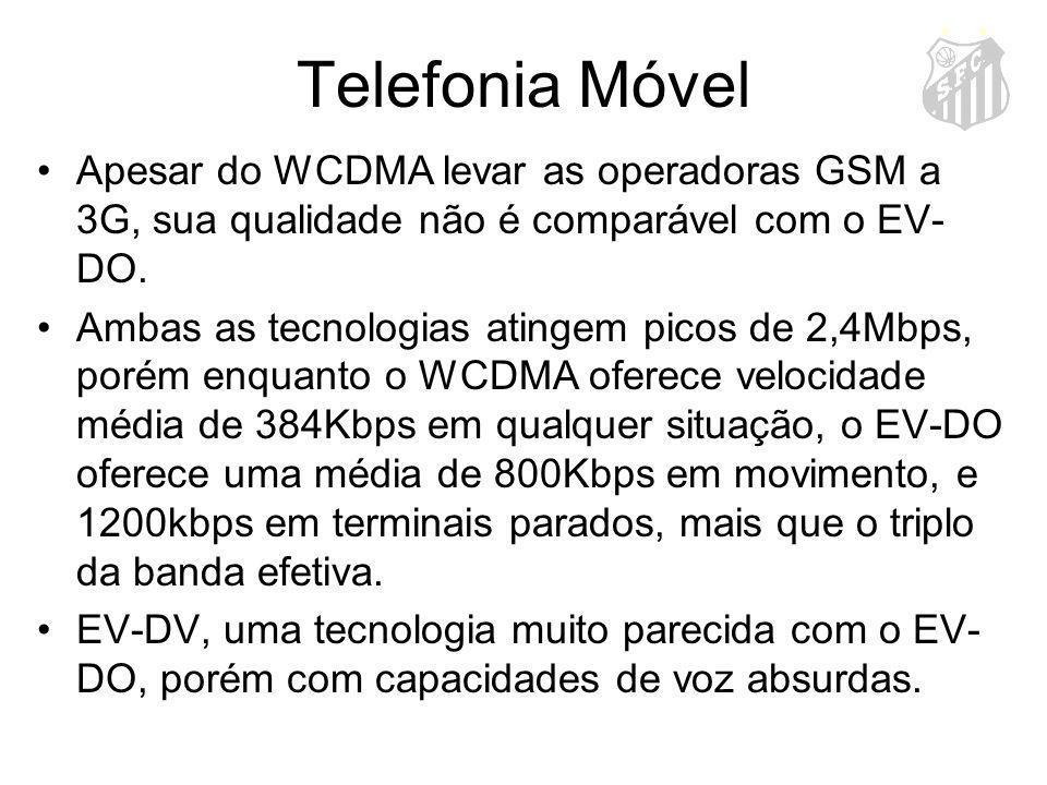 Telefonia Móvel Apesar do WCDMA levar as operadoras GSM a 3G, sua qualidade não é comparável com o EV-DO.