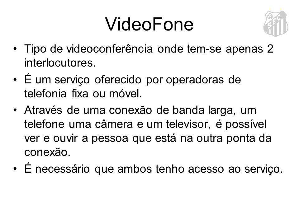 VideoFone Tipo de videoconferência onde tem-se apenas 2 interlocutores. É um serviço oferecido por operadoras de telefonia fixa ou móvel.