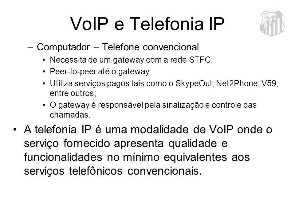 VoIP e Telefonia IP Computador – Telefone convencional. Necessita de um gateway com a rede STFC; Peer-to-peer até o gateway;