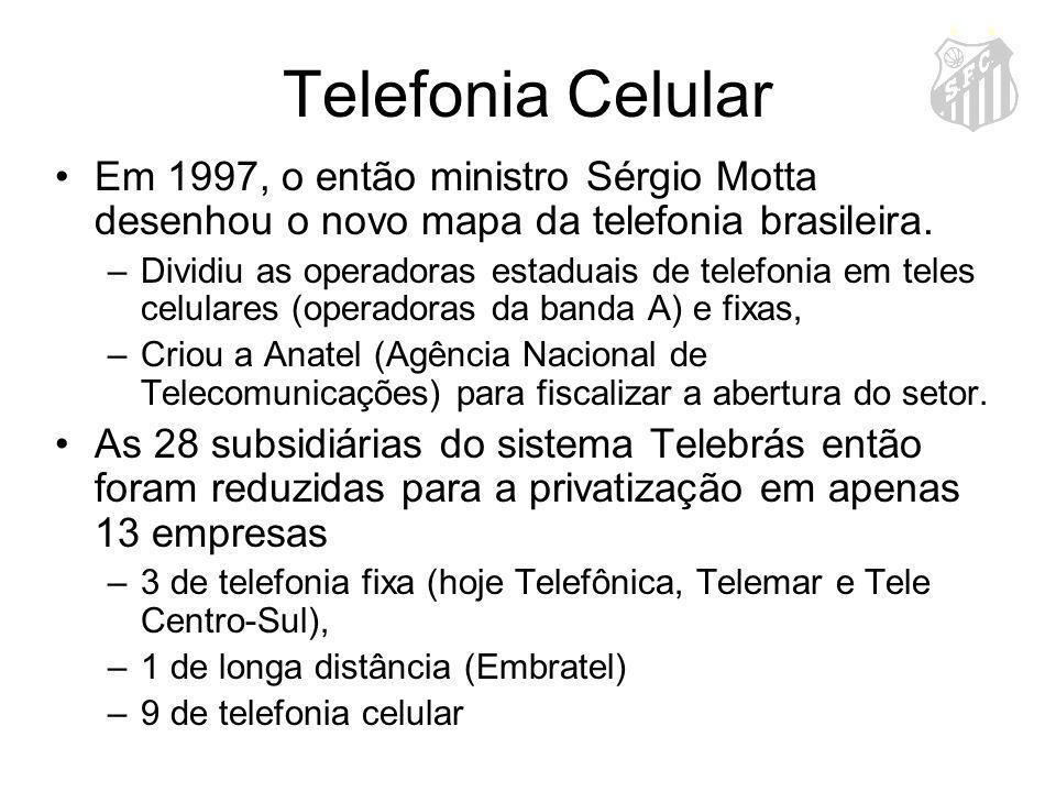 Telefonia Celular Em 1997, o então ministro Sérgio Motta desenhou o novo mapa da telefonia brasileira.