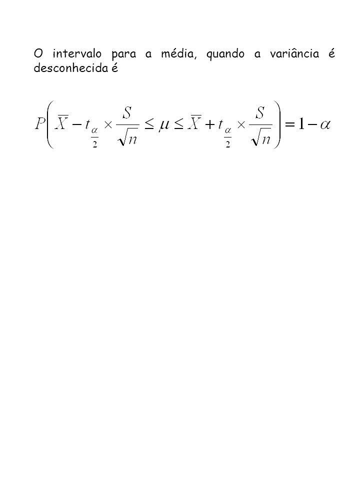 O intervalo para a média, quando a variância é desconhecida é