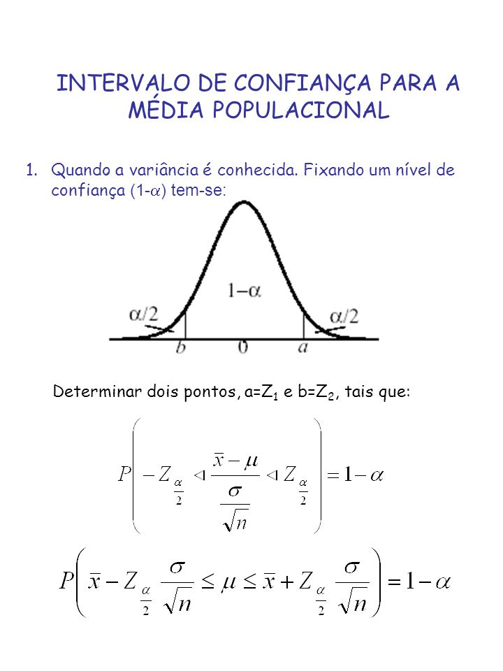 INTERVALO DE CONFIANÇA PARA A MÉDIA POPULACIONAL