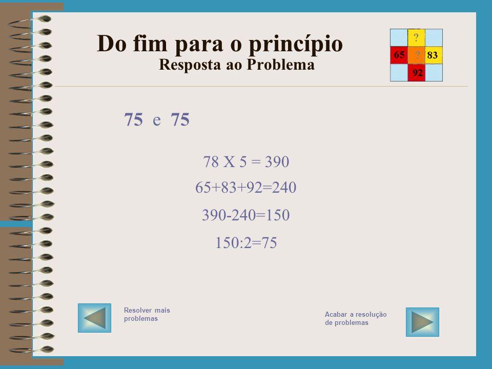 Do fim para o princípio Resposta ao Problema