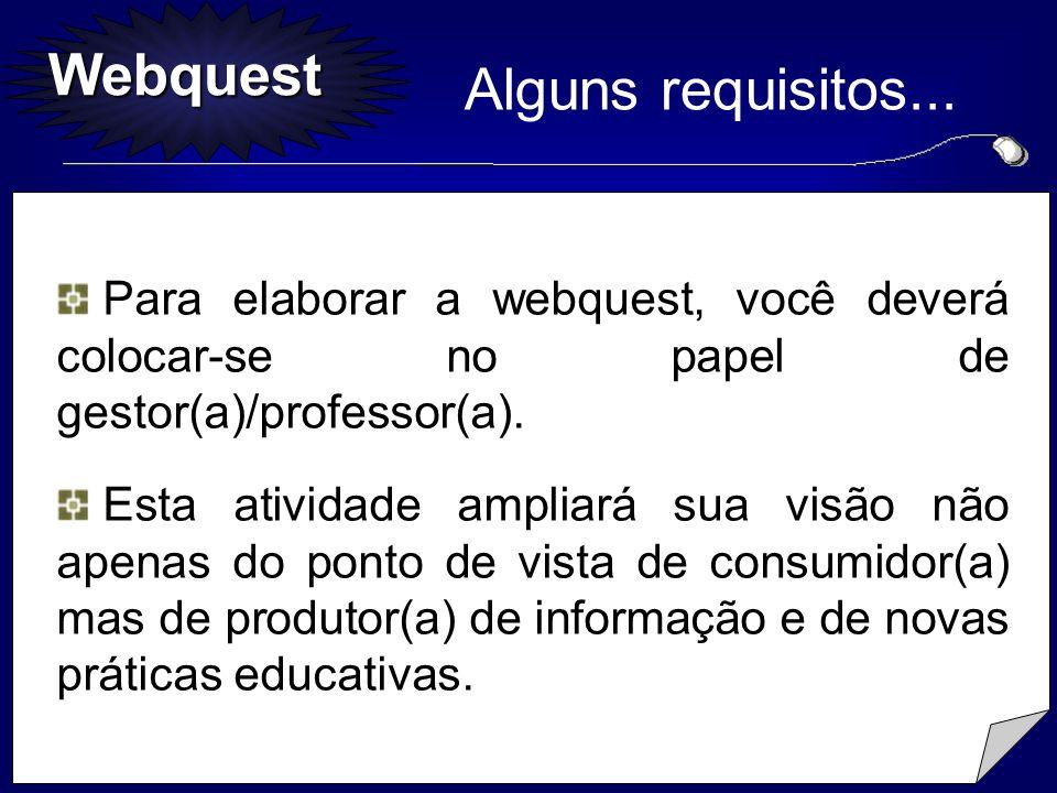 Alguns requisitos... Para elaborar a webquest, você deverá colocar-se no papel de gestor(a)/professor(a).
