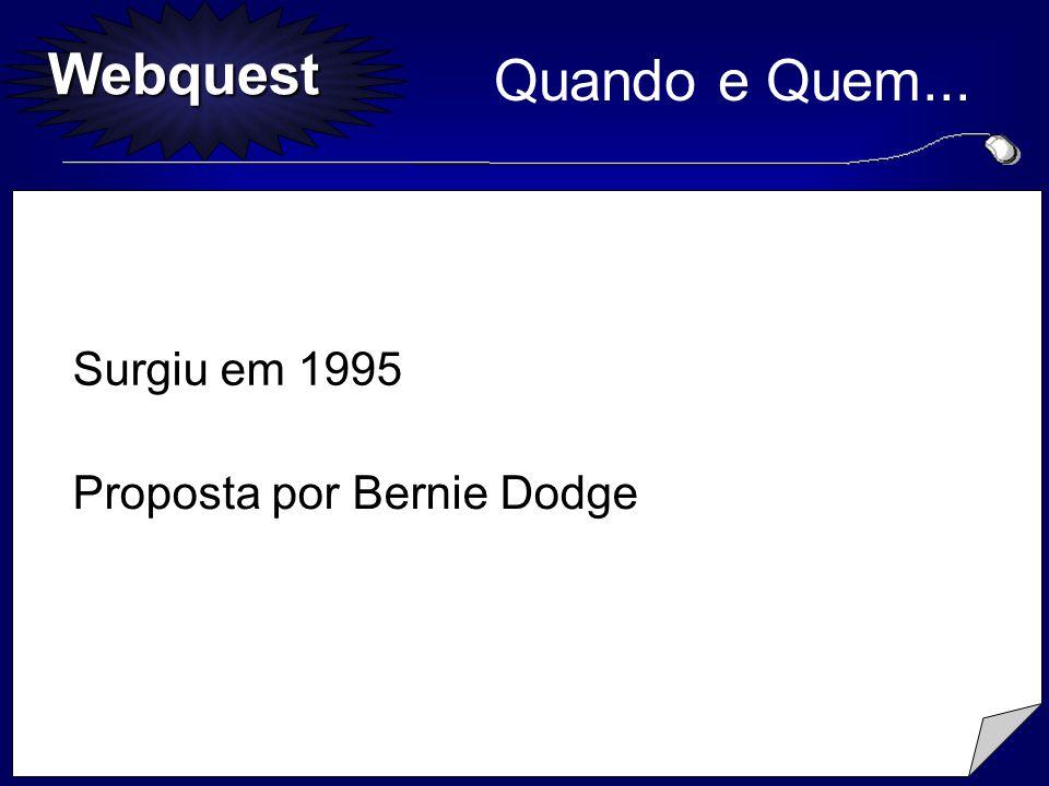 Quando e Quem... Surgiu em 1995 Proposta por Bernie Dodge
