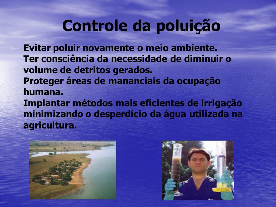 Controle da poluição Evitar poluir novamente o meio ambiente.