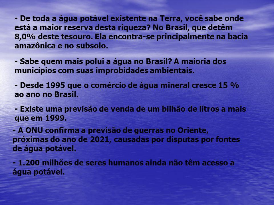 - De toda a água potável existente na Terra, você sabe onde está a maior reserva desta riqueza No Brasil, que detêm 8,0% deste tesouro. Ela encontra-se principalmente na bacia amazônica e no subsolo.