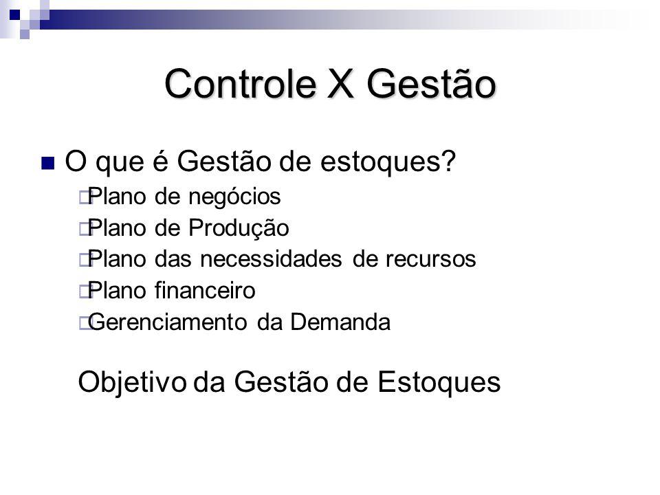 Controle X Gestão O que é Gestão de estoques