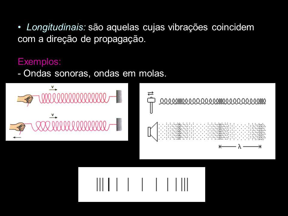 Longitudinais: são aquelas cujas vibrações coincidem com a direção de propagação.