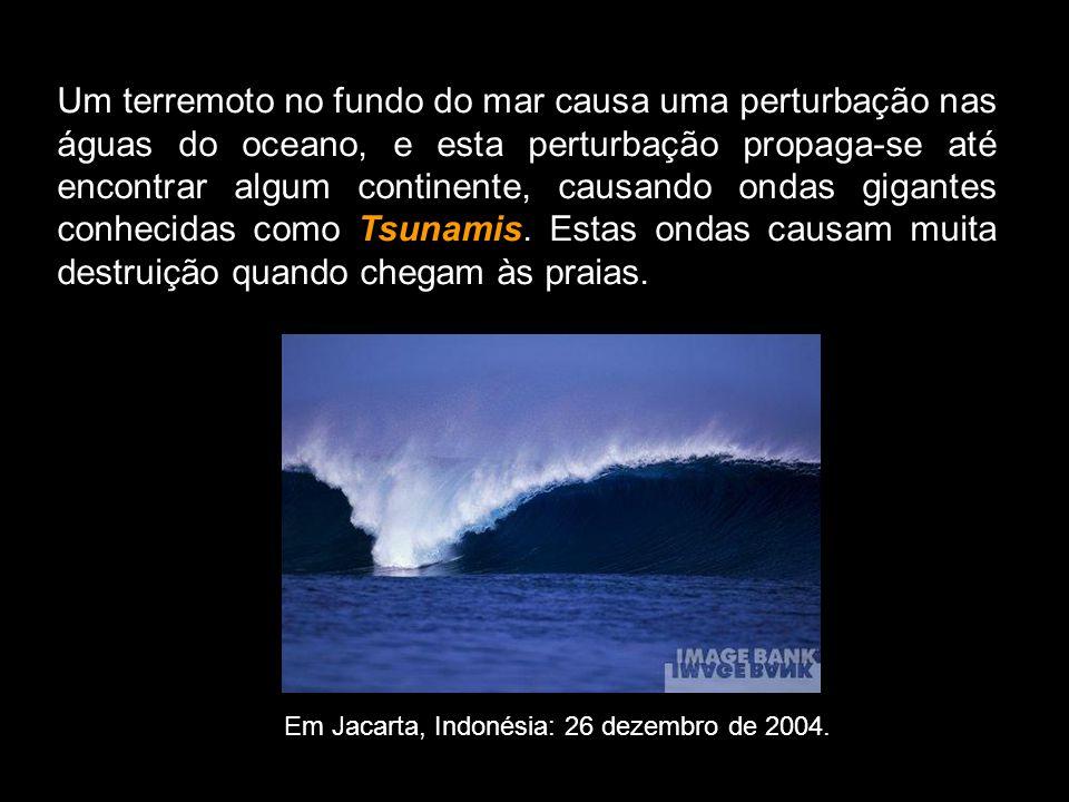 Um terremoto no fundo do mar causa uma perturbação nas águas do oceano, e esta perturbação propaga-se até encontrar algum continente, causando ondas gigantes conhecidas como Tsunamis. Estas ondas causam muita destruição quando chegam às praias.