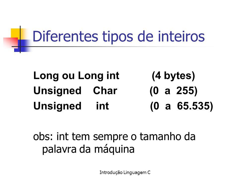 Diferentes tipos de inteiros