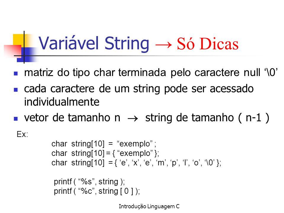 Variável String → Só Dicas