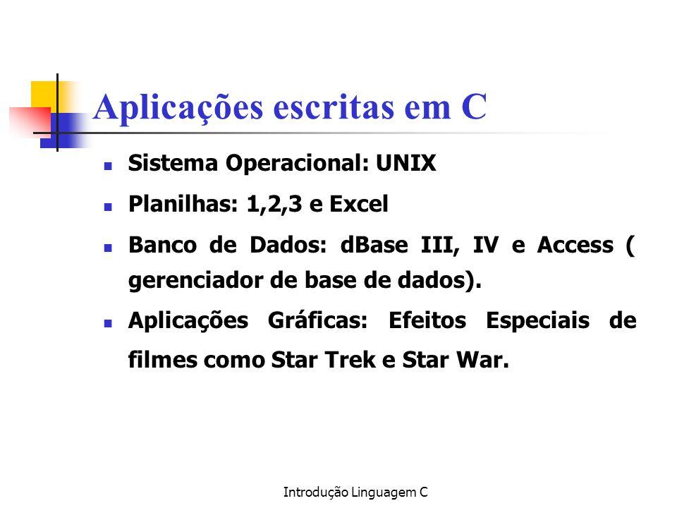 Aplicações escritas em C