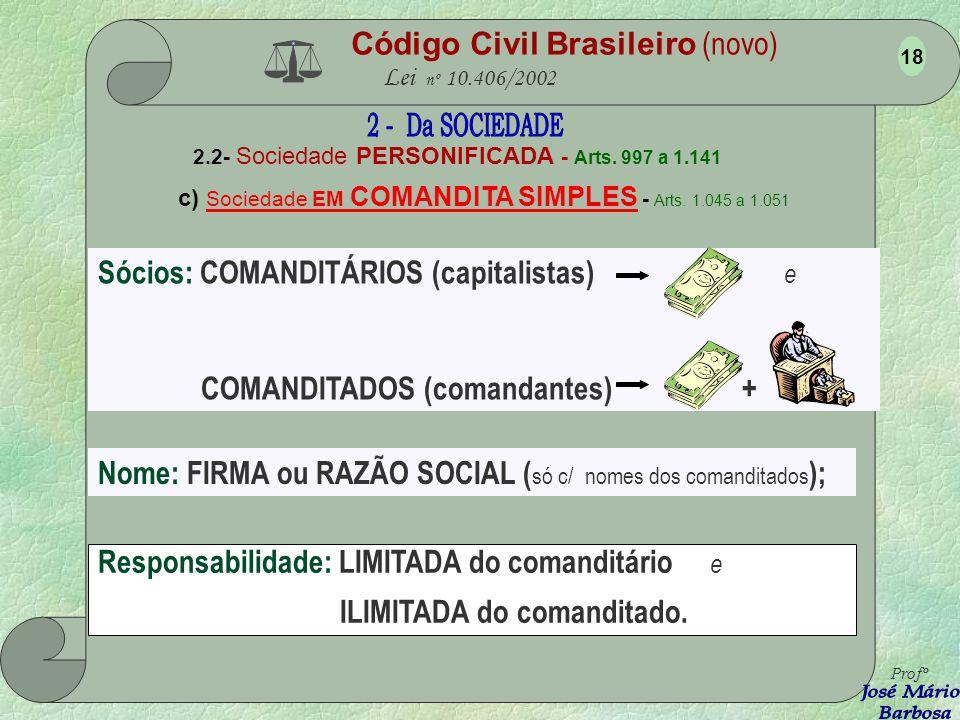 c) Sociedade EM COMANDITA SIMPLES - Arts. 1.045 a 1.051
