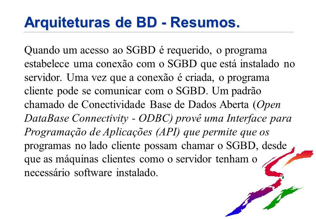 Arquiteturas de BD - Resumos.