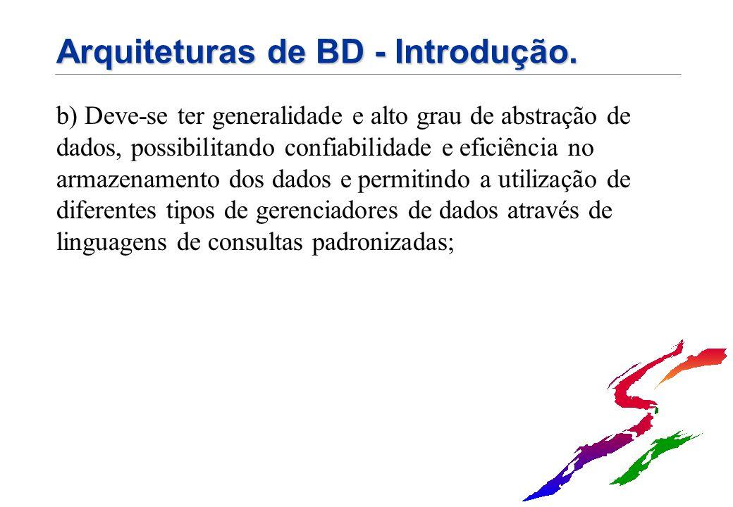 Arquiteturas de BD - Introdução.