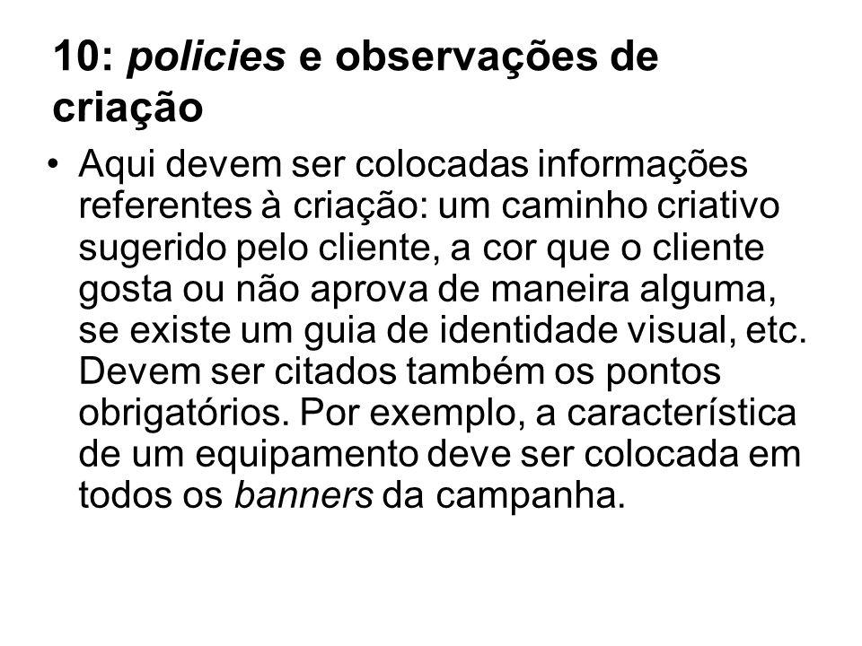 10: policies e observações de criação