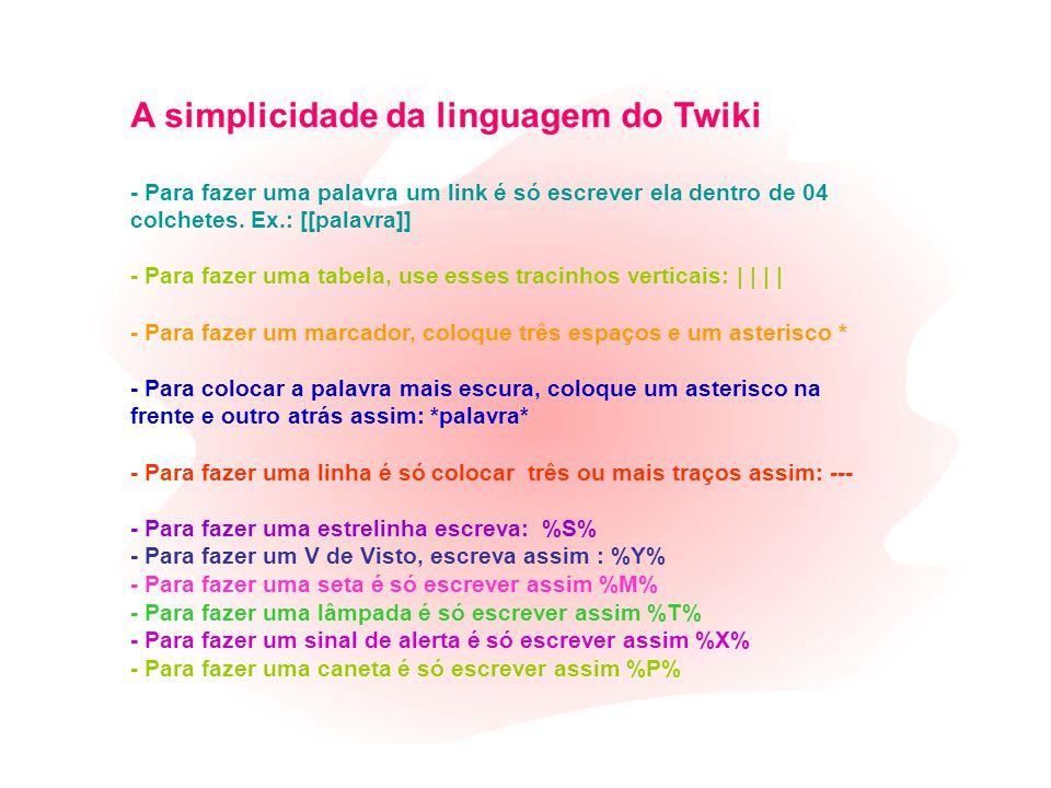 A simplicidade da linguagem do Twiki