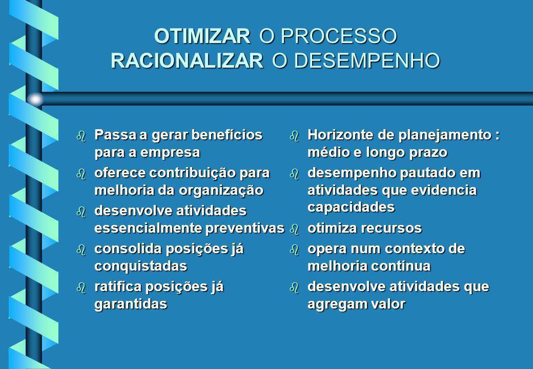 OTIMIZAR O PROCESSO RACIONALIZAR O DESEMPENHO