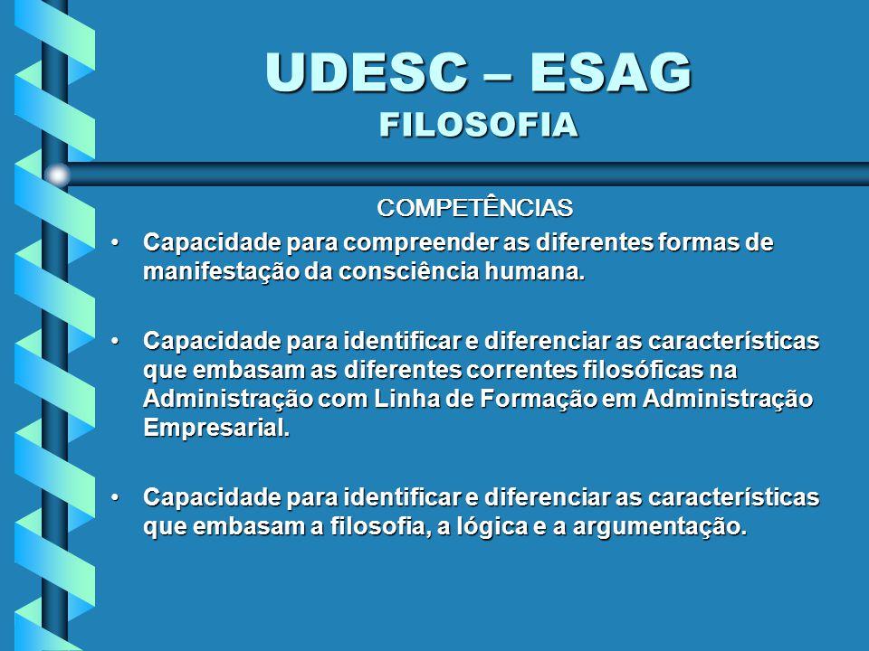 UDESC – ESAG FILOSOFIA COMPETÊNCIAS