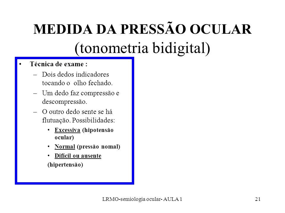 MEDIDA DA PRESSÃO OCULAR (tonometria bidigital)