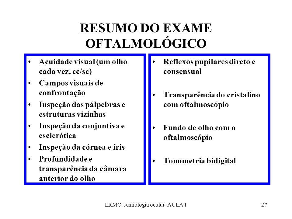 RESUMO DO EXAME OFTALMOLÓGICO
