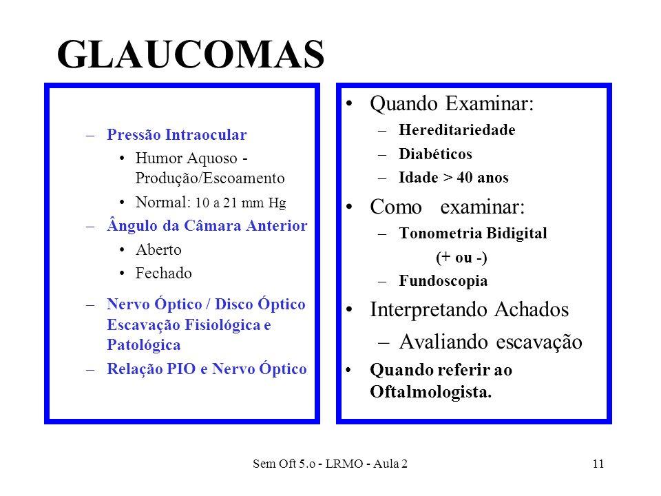 GLAUCOMAS Informações Básicas Quando Examinar: Como examinar: