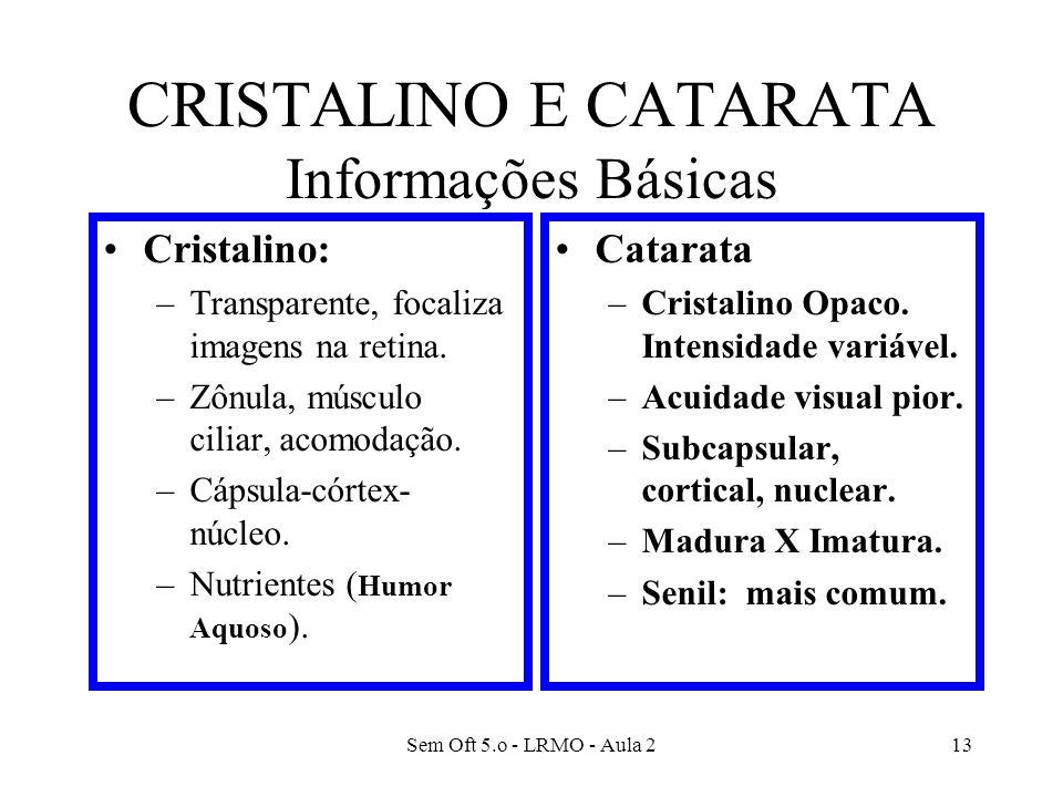 CRISTALINO E CATARATA Informações Básicas