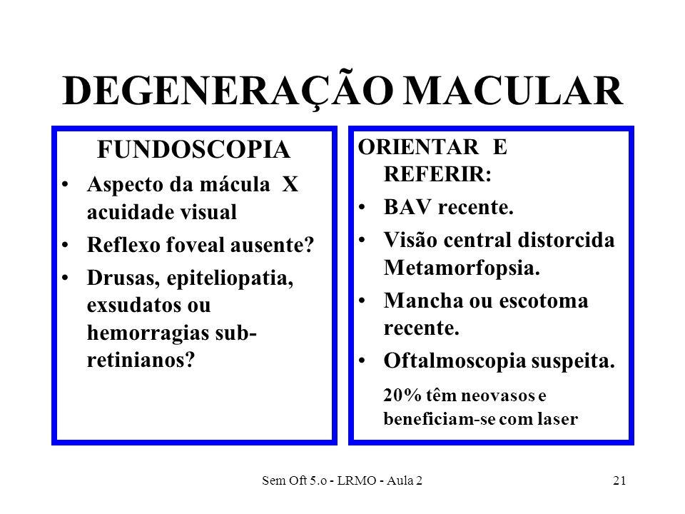 DEGENERAÇÃO MACULAR FUNDOSCOPIA ORIENTAR E REFERIR:
