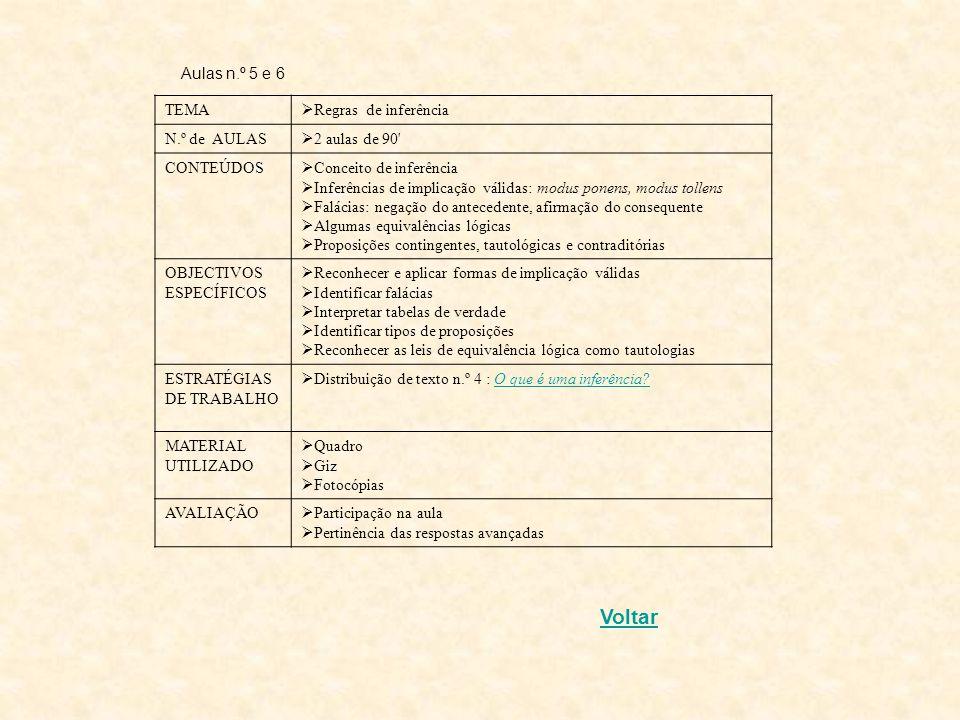 Voltar Aulas n.º 5 e 6 TEMA Regras de inferência N.º de AULAS
