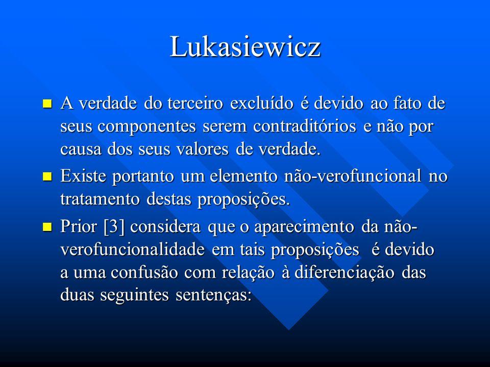 Lukasiewicz A verdade do terceiro excluído é devido ao fato de seus componentes serem contraditórios e não por causa dos seus valores de verdade.