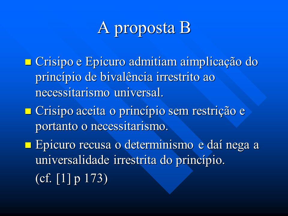 A proposta B Crisipo e Epicuro admitiam aimplicação do princípio de bivalência irrestrito ao necessitarismo universal.