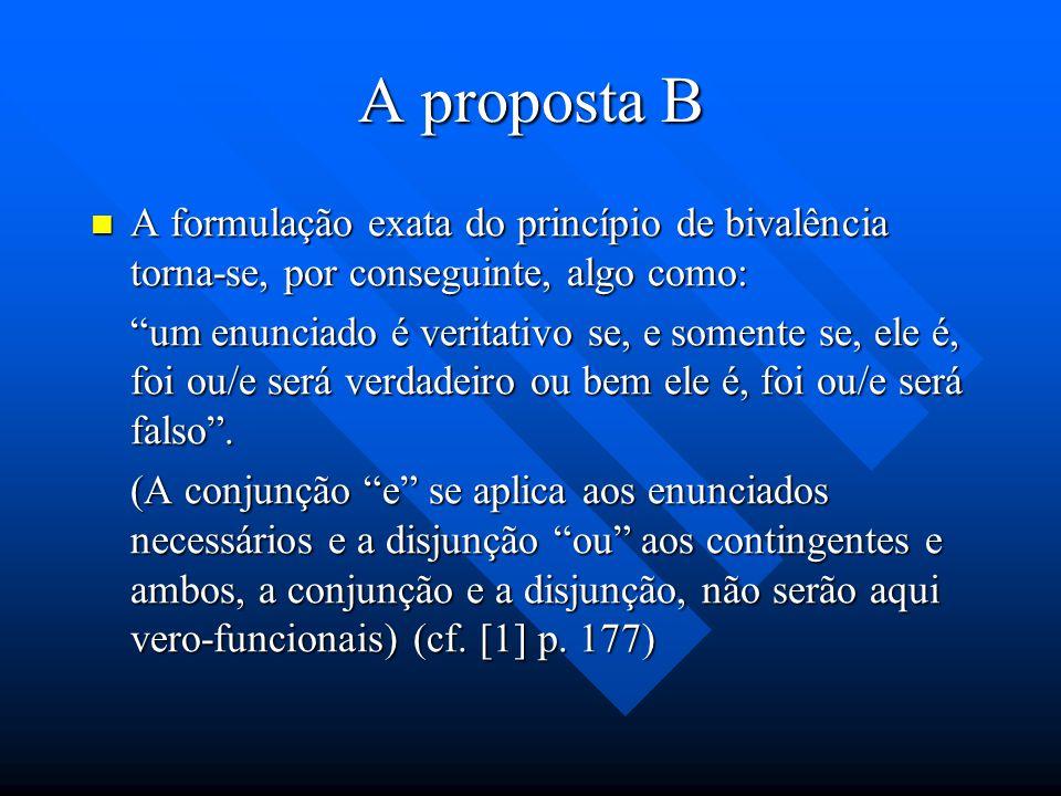 A proposta B A formulação exata do princípio de bivalência torna-se, por conseguinte, algo como: