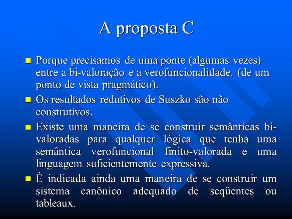 A proposta C Porque precisamos de uma ponte (algumas vezes) entre a bi-valoração e a verofuncionalidade. (de um ponto de vista pragmático).