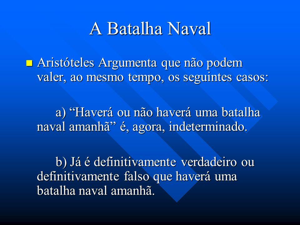 A Batalha Naval Aristóteles Argumenta que não podem valer, ao mesmo tempo, os seguintes casos: