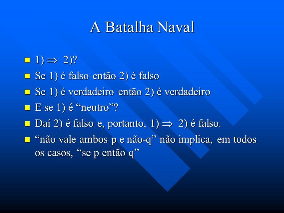 A Batalha Naval 1)  2) Se 1) é falso então 2) é falso