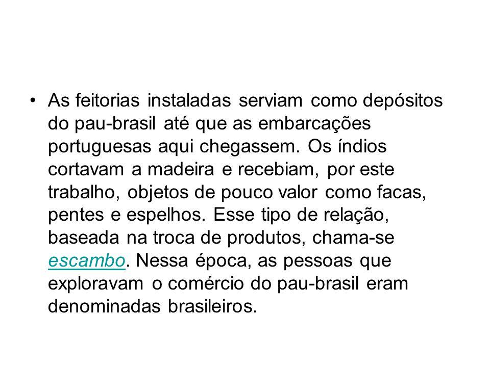 As feitorias instaladas serviam como depósitos do pau-brasil até que as embarcações portuguesas aqui chegassem.