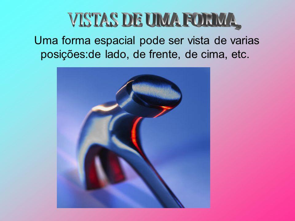 VISTAS DE UMA FORMA, Uma forma espacial pode ser vista de varias posições:de lado, de frente, de cima, etc.
