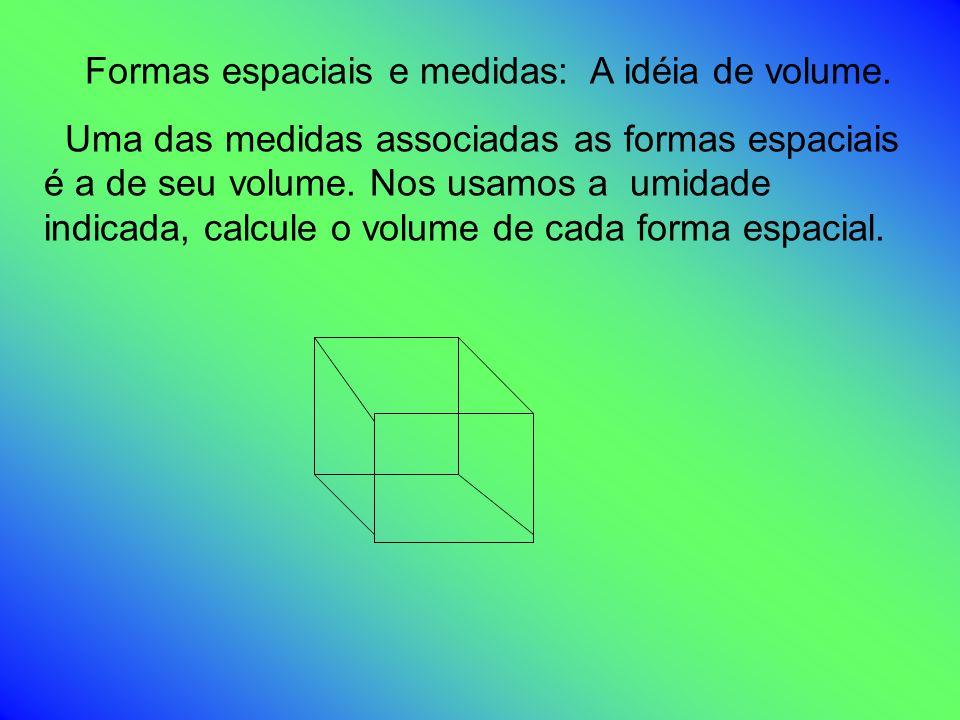 Formas espaciais e medidas: A idéia de volume.