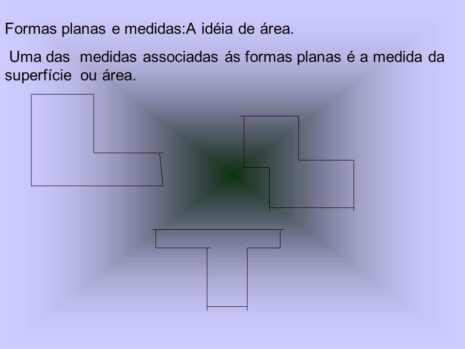 Formas planas e medidas:A idéia de área.