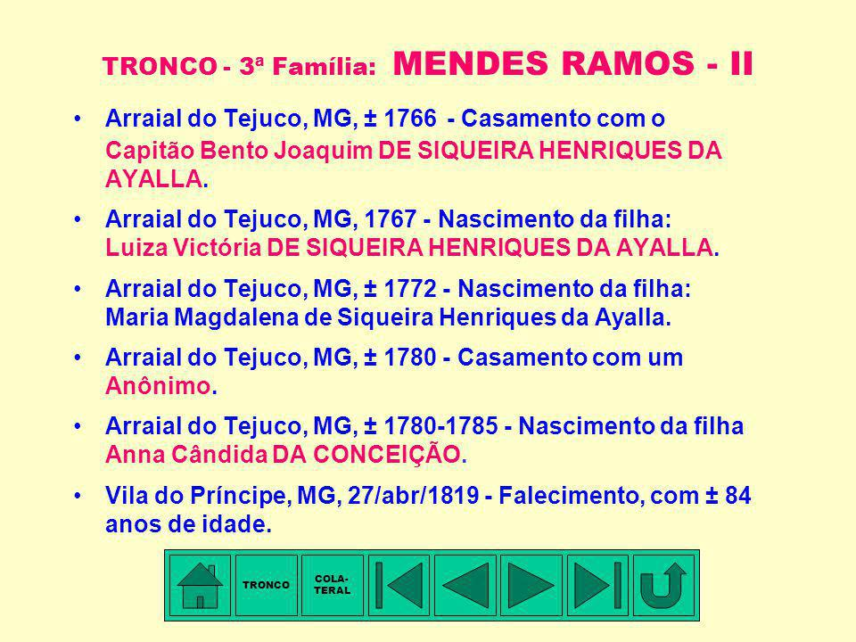 TRONCO - 3ª Família: MENDES RAMOS - II